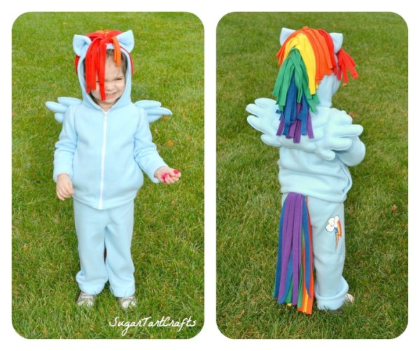 Front and Back views of Rainbow Dash Costume