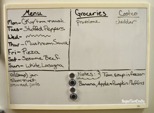 White board menu and grocery list