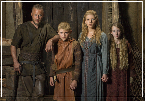 Picture of Ragnar's family in the history channel show Vikings