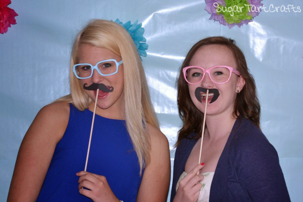 Birthday party photo-booth glasses and mustache props