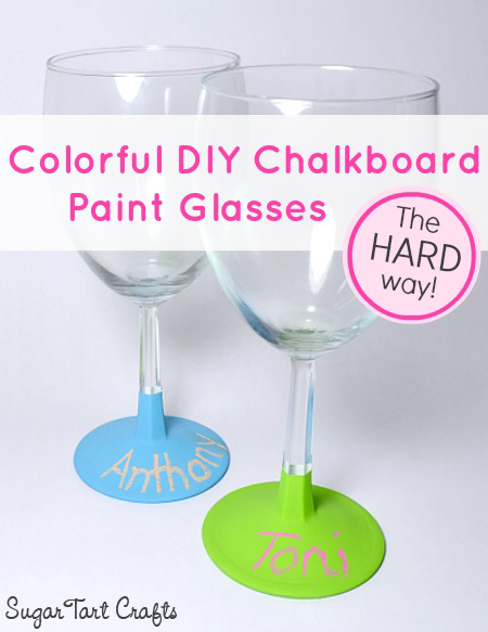 Colorful glasses made with homemade chalkboard paint.
