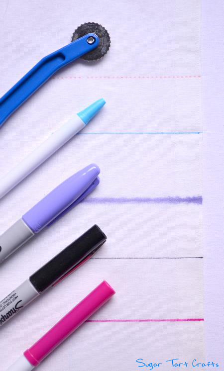 Methods for marking fabric: tracing wheel, ballpoint pens, sharpie, and washable markers.
