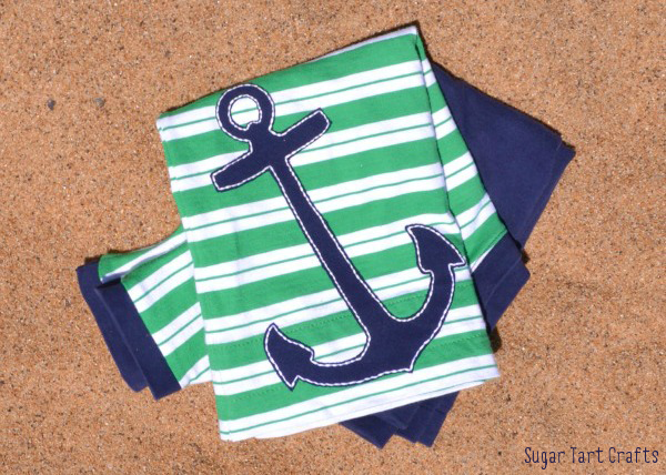 Anchors Aweigh: A simple t-shirt refashion with appliqued anchor