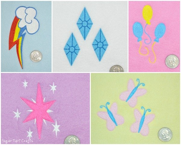 My Little Pony: Friendship is Magic - Embroidered cutie marks for Rainbow Dash, Rarity, Pinkie Pie, Twilight Sparkle, and Fluttershy
