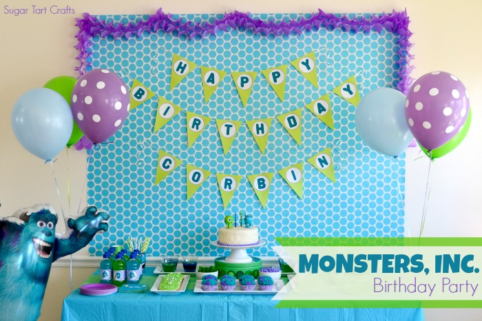 "Monsters Inc Birthday Party featuring James P. Sullivan ""Sully"" and Mike Wazowski"