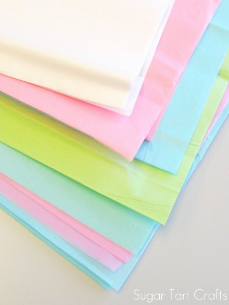 Pink, green, white and teal tissue paper