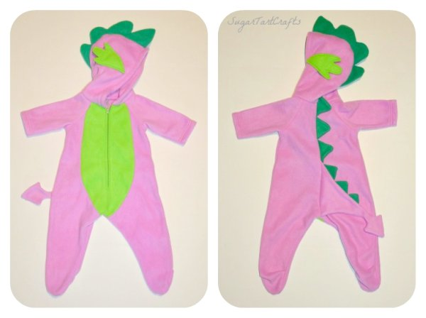 Front and Back views of Spike the Dragon Costume