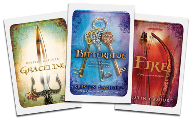 Graceling, Bitterblue, and Fire book covers by Kristen Cashore