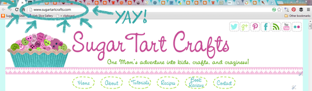 Screen shot showing the new Sugar Tart Crafts domain name