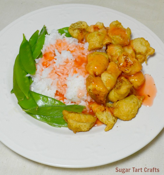 Plate of sweet and sour chicken
