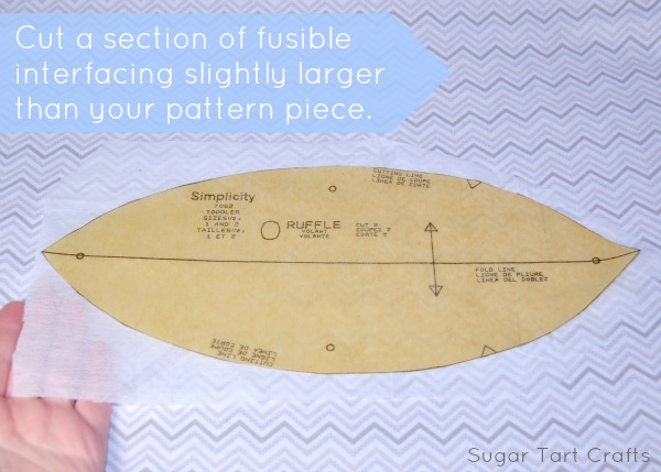 Cut a piece of interfacing the size of your pattern.