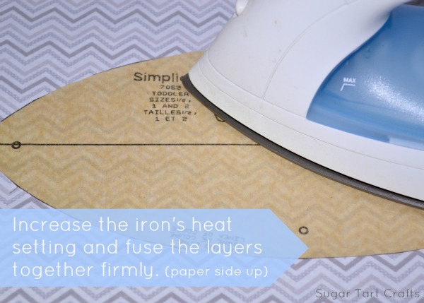 Increase the heat and fuse the layers together firmly with the paper side up.