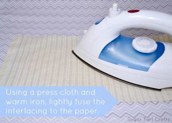 Use a warm iron and press cloth to lightly fuse the interfacing to the pattern piece.