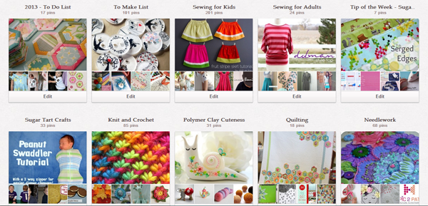 A screen shot of some of Sugar Tart Crafts' pinterest boards.