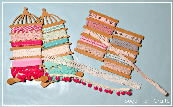 Cards full of ribbon and lace trims
