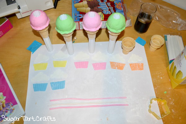 Fondant ice cream cone pillars.