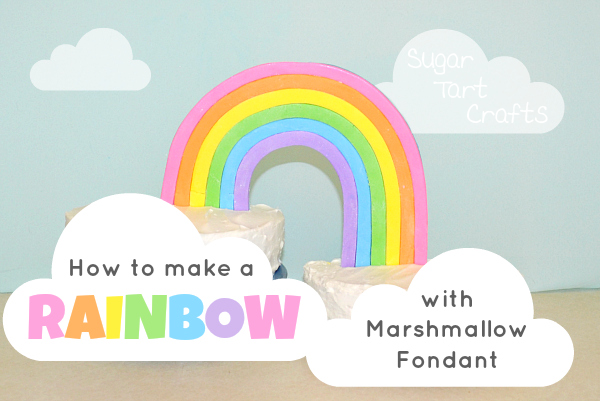 How to make a rainbow cake decoration from marshmallow fondant.