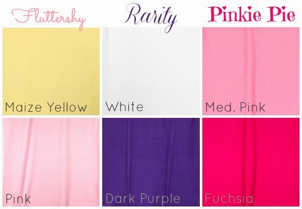 Hancock Fabrics fleece colors for Fluttershy, Rarity, and Pinkie Pie Costumes