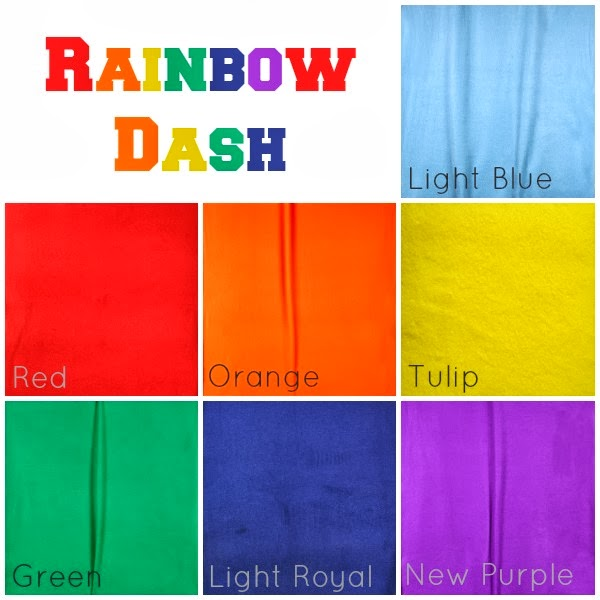 Hancock Fabrics fleece colors for Rainbow Dash Costumes