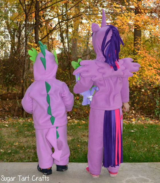 Back view of Spike and Twilight Sparkle costumes