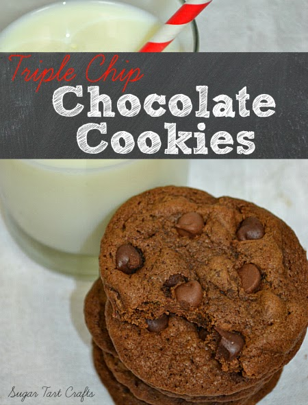 Chocolate cookies with three kinds of chips!