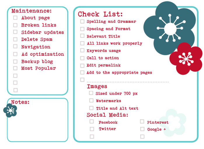 Free Printable Blog Publishing and Maintenance Checklist