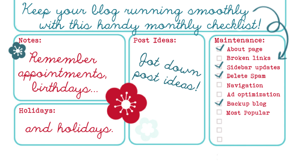 Printable Monthly Blog Maintenance Checklist