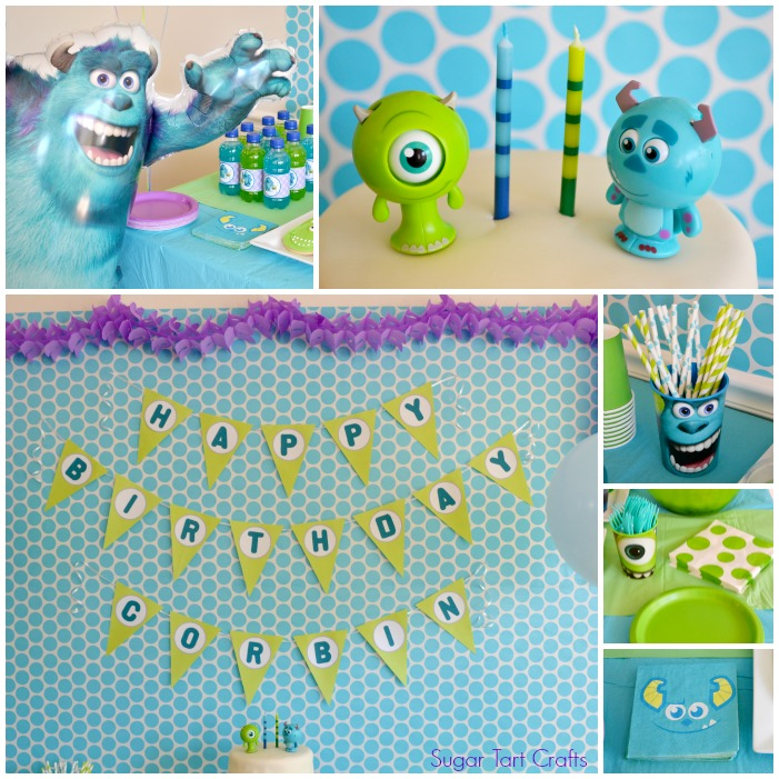 Disney's Monsters Inc Unisex Birthday Party decorations in teal, lime green and purple