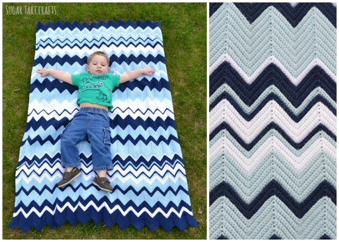 Throw sized Ripple Crochet blanket pattern