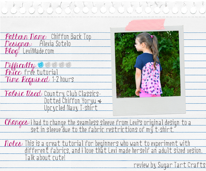 Lexi Made's chiffon top reviewed by Sugar Tart Crafts