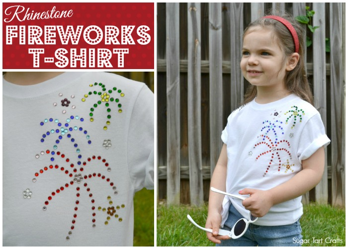 Fun Rhinestone Fireworks T-shirt for Summer!