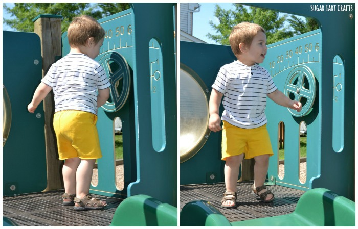 Peek-a-Boo Patterns: Boardwalk Henley and Coastal Baggies sewn by Sugar Tart Crafts
