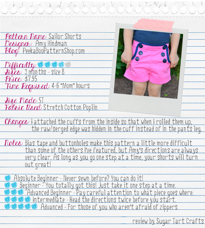 Peek-a-Boo Patterns: Sailor Shorts review by Sugar Tart crafts