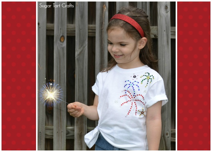 Rhinestone Fireworks Summer T-shirt Craft