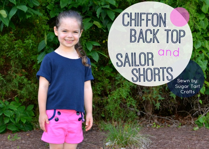 Chiffon back top and Sailor Shorts sewn by Sugar Tart Crafts