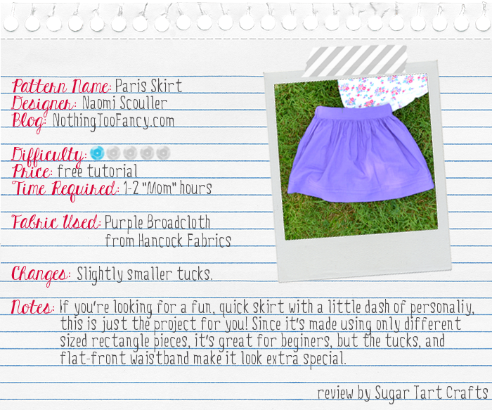 Pattern Review: Nothing Too Fancy's Paris Skirt Tutorial