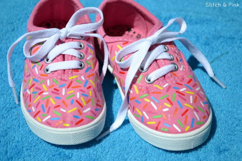 Diy Sprinkle Shoes With Free Cut File Stitch And Pink